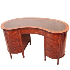 Antique Late 19th Century Mahogany Kidney Shaped Desk