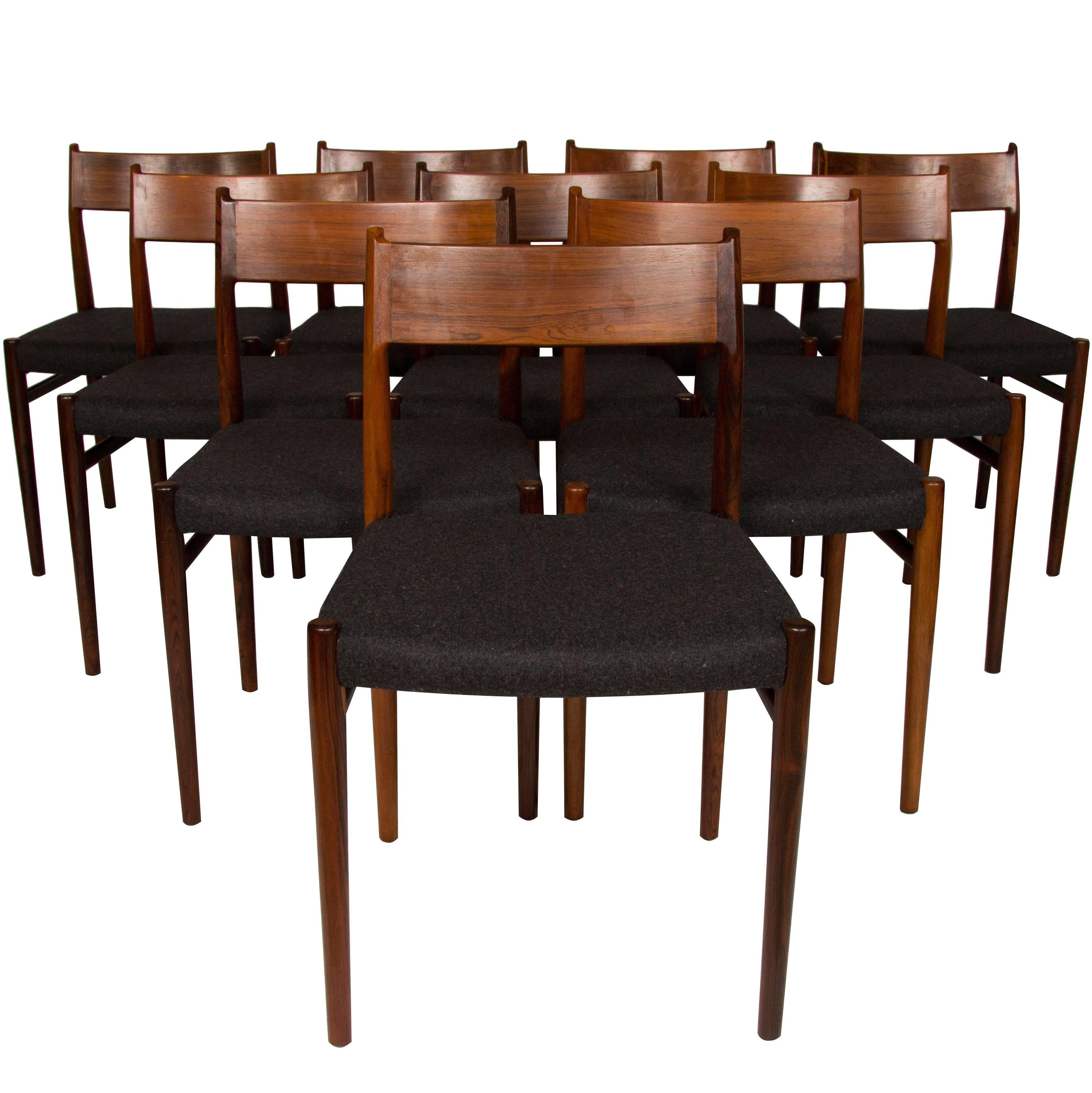 Set Of Ten Arne Vodder Rosewood Dining Chairs For Sale