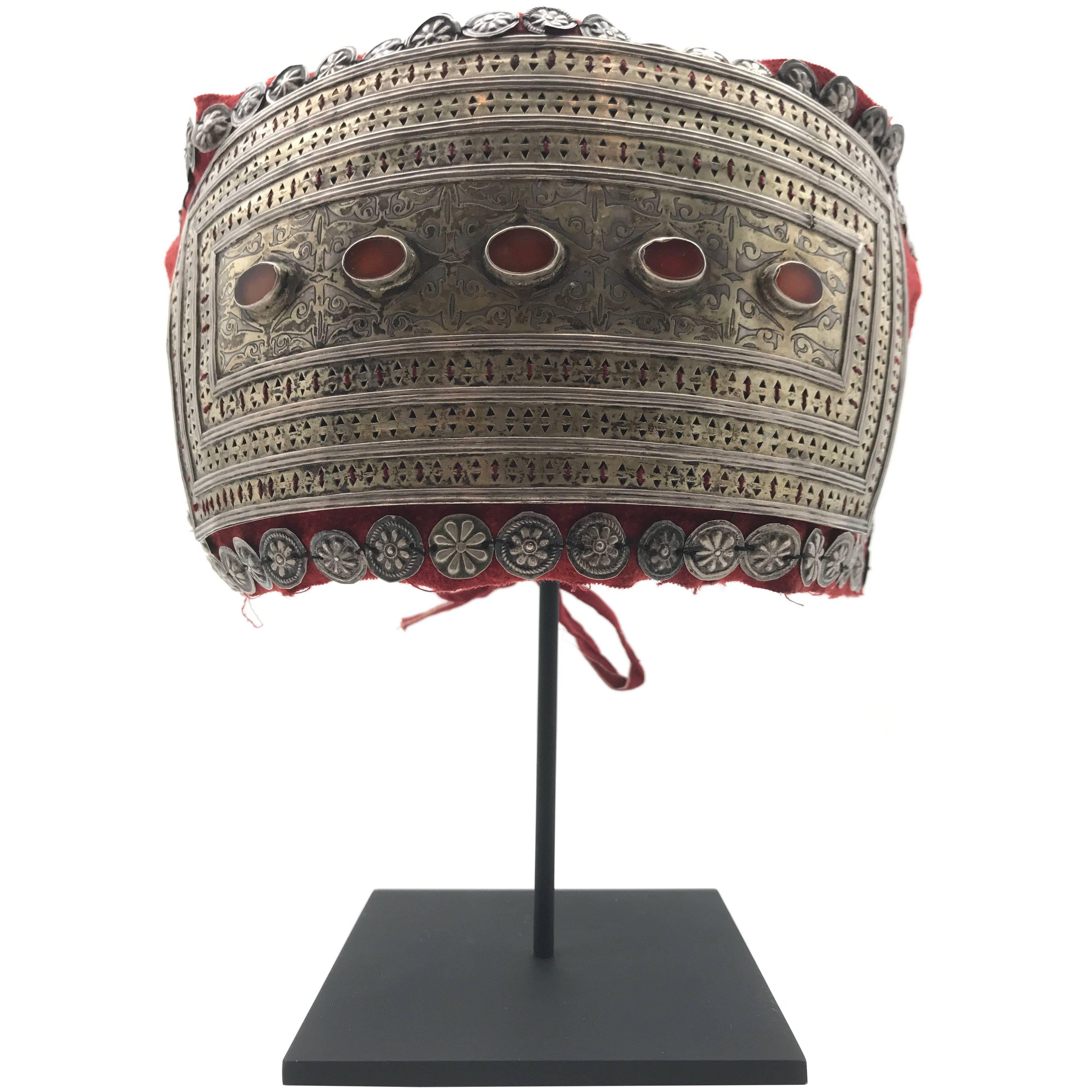 Mounted Silver and Carnelian Headdress from Turkmenistan