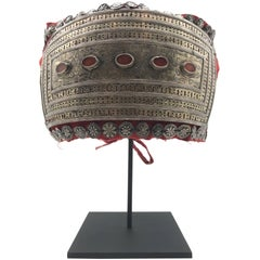 Mounted Silver and Cornelian Headdress from Turkmenistan