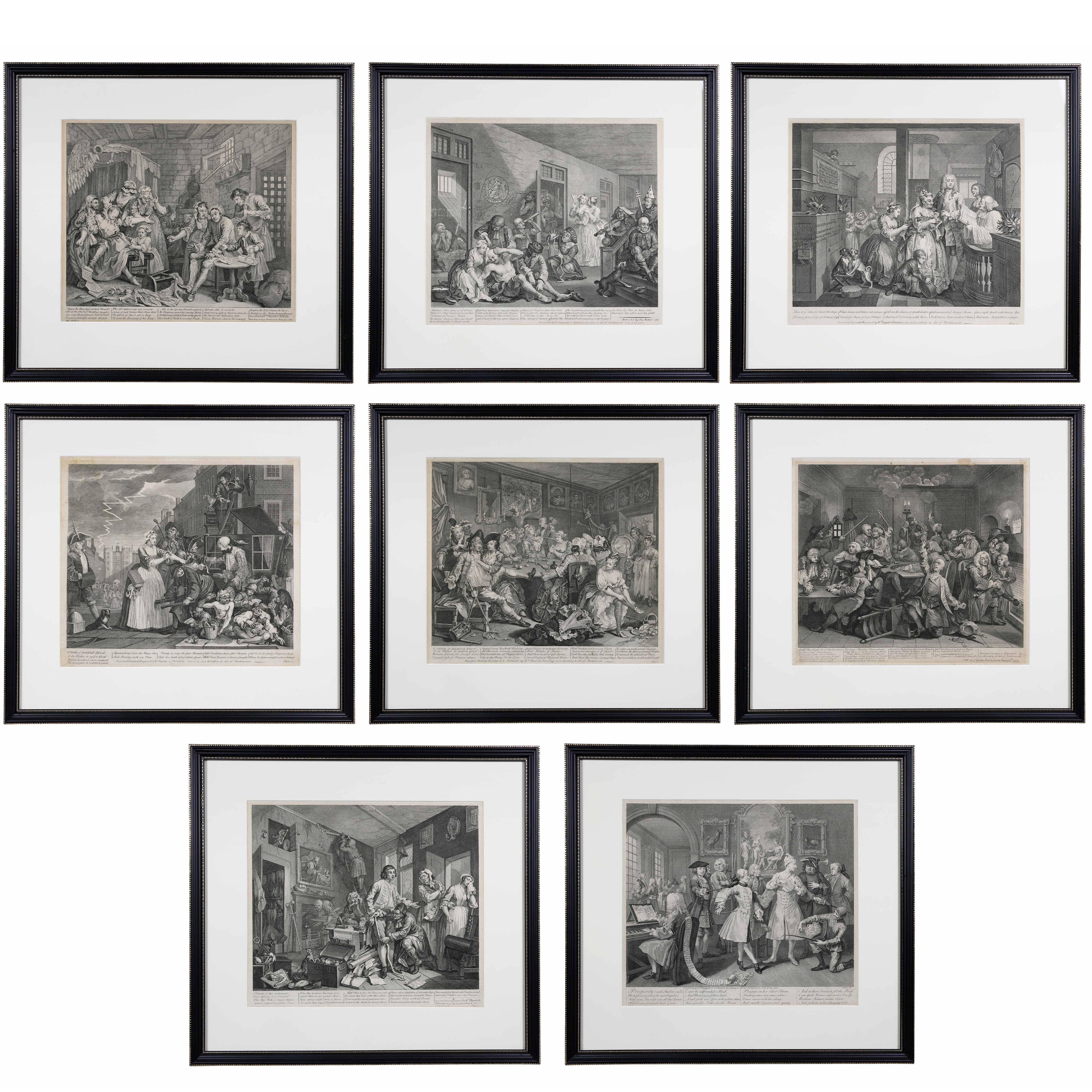 William Hogarth, Complete Set of Eight Engravings of 'The Rakes Progress'