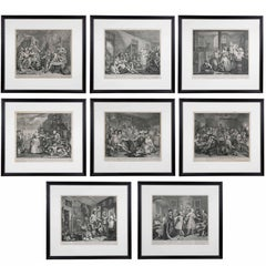 William Hogarth, Complete Set of Eight Engravings of 'The Rakes Progress'