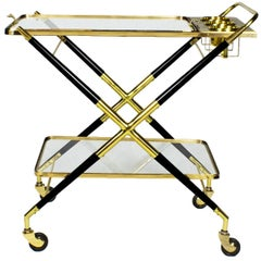 1950s Bar Cart with Tray by Cesare Lacca, Beech, Brass and Glass, Italy