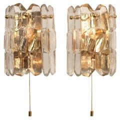 "Pair of Gilt Brass Crystal Ice Glass ""Palazzo"" Wall Lights by Kalmar, Austria"