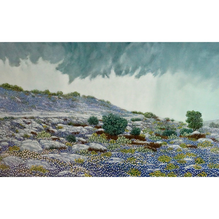 "Daniel Kendrick Texas Bluebonnets ""Take Cover"" Oil Painting For Sale"
