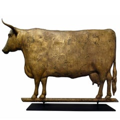 Cow Weathervane, Excellent Scale, Great Boxy Form, with Gilded Surface