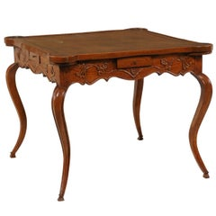 French Louis XV Style 1870s Carved Oak Game Table with Leather Top and Pull Outs