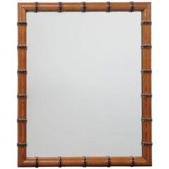English Faux-Bamboo Rectangular Mirror with Ebonized Wood Accents, circa 1880