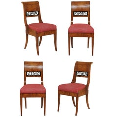 Set of Four 1840s Austrian Biedermeier Period Chairs with Bookmarked Veneer