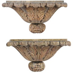 Pair of Italian Carved Giltwood Wall Brackets with Faux-Marble Tops, circa 1870