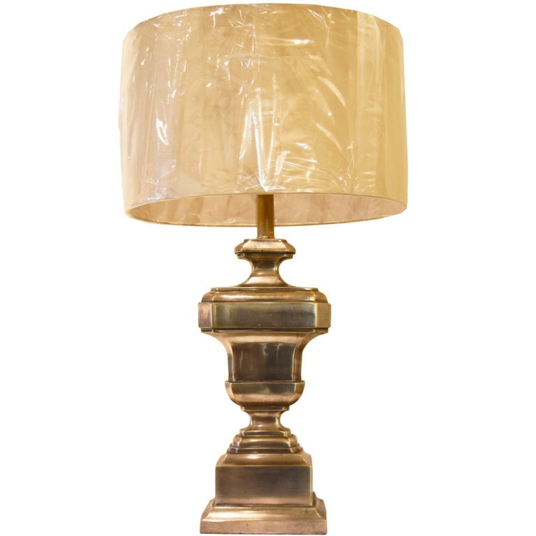 Vintage French Silvered Bronze Lamp