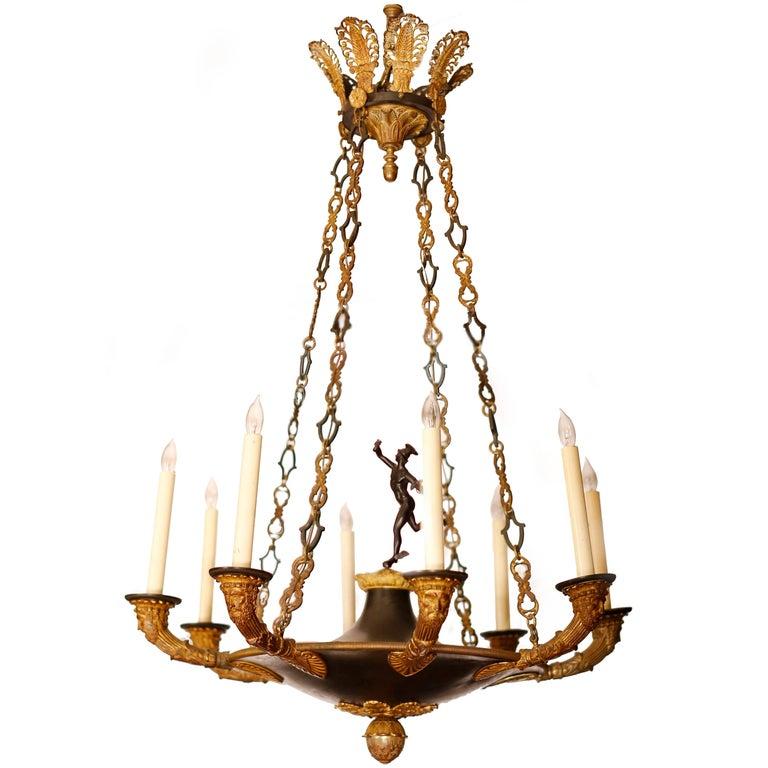 19th Century French Empire Bronze Doré Eight-Light Chandelier