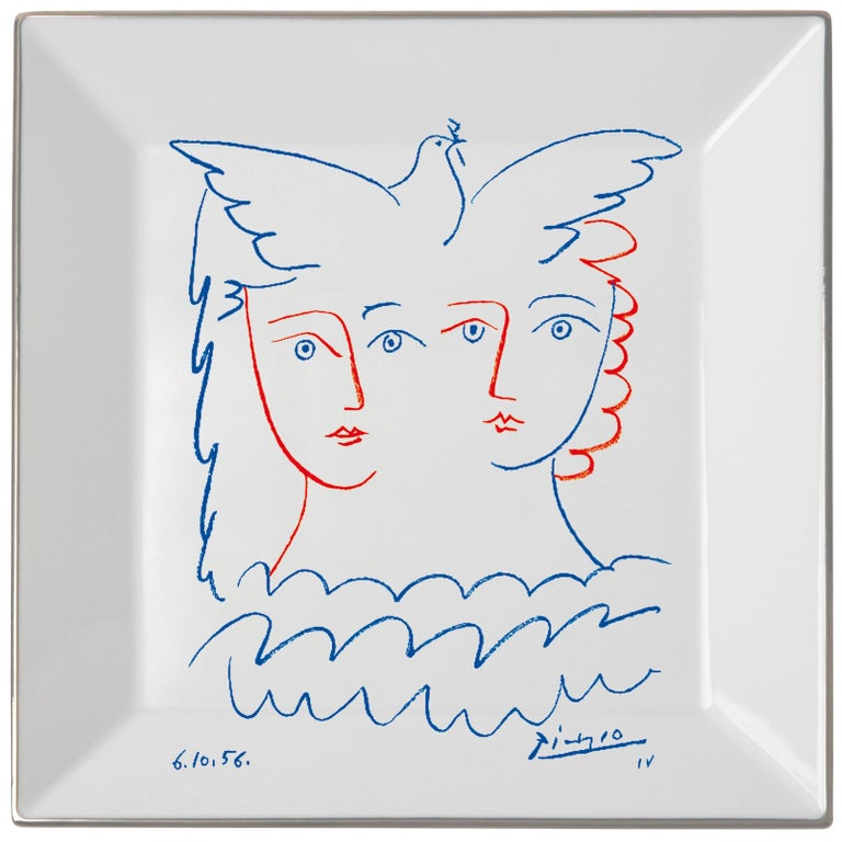 Two Women with Dove Plate by Pablo Picasso For Sale