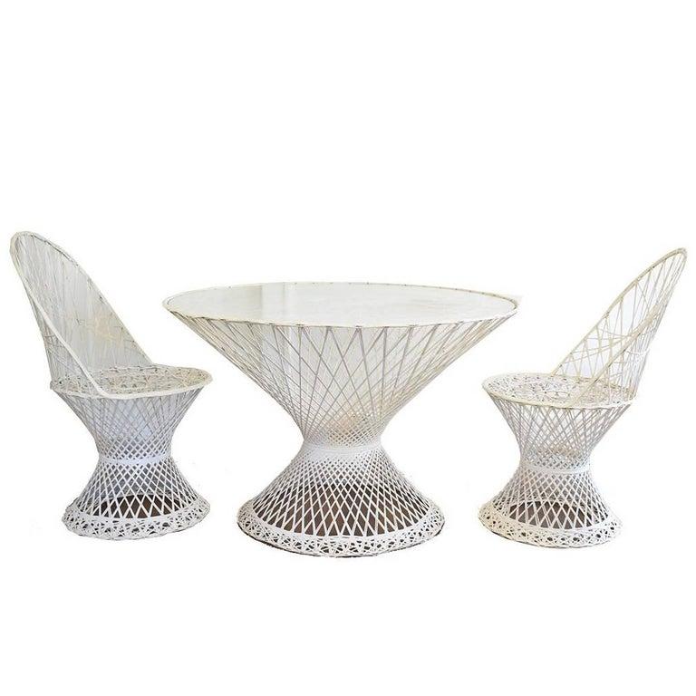 Mid-Century Modern Russell Woodard Spun Fiberglass Patio Furniture Glass Table