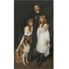 "Antonio De La Gandara ""Family Portrait"" Canvas Oil Painting"