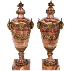 Pair of Louis XVI Style Marble Urns