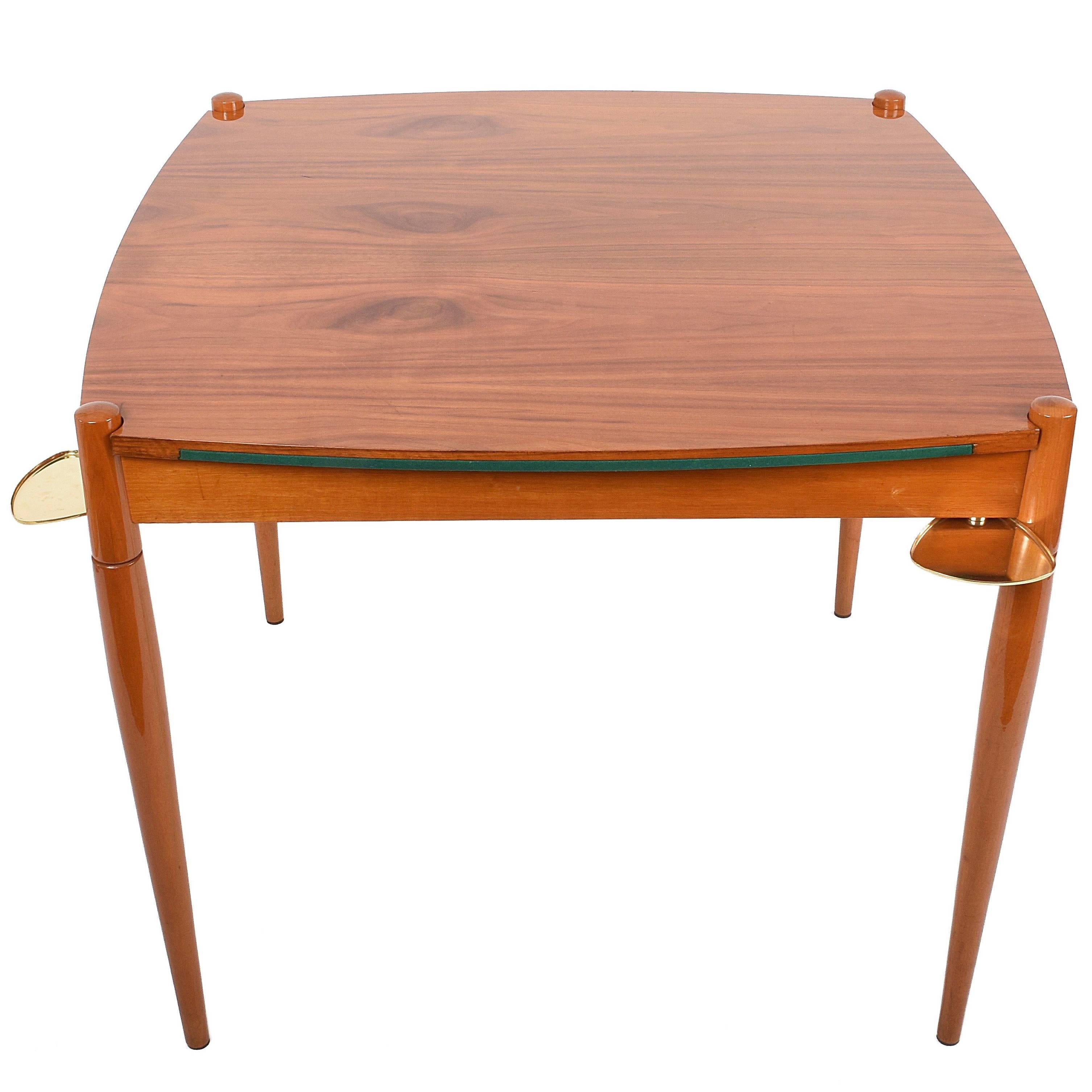 Delightful Gio Ponti Game Table With Mansonia Walnut And Green Felt Top, Italy, 1958  For