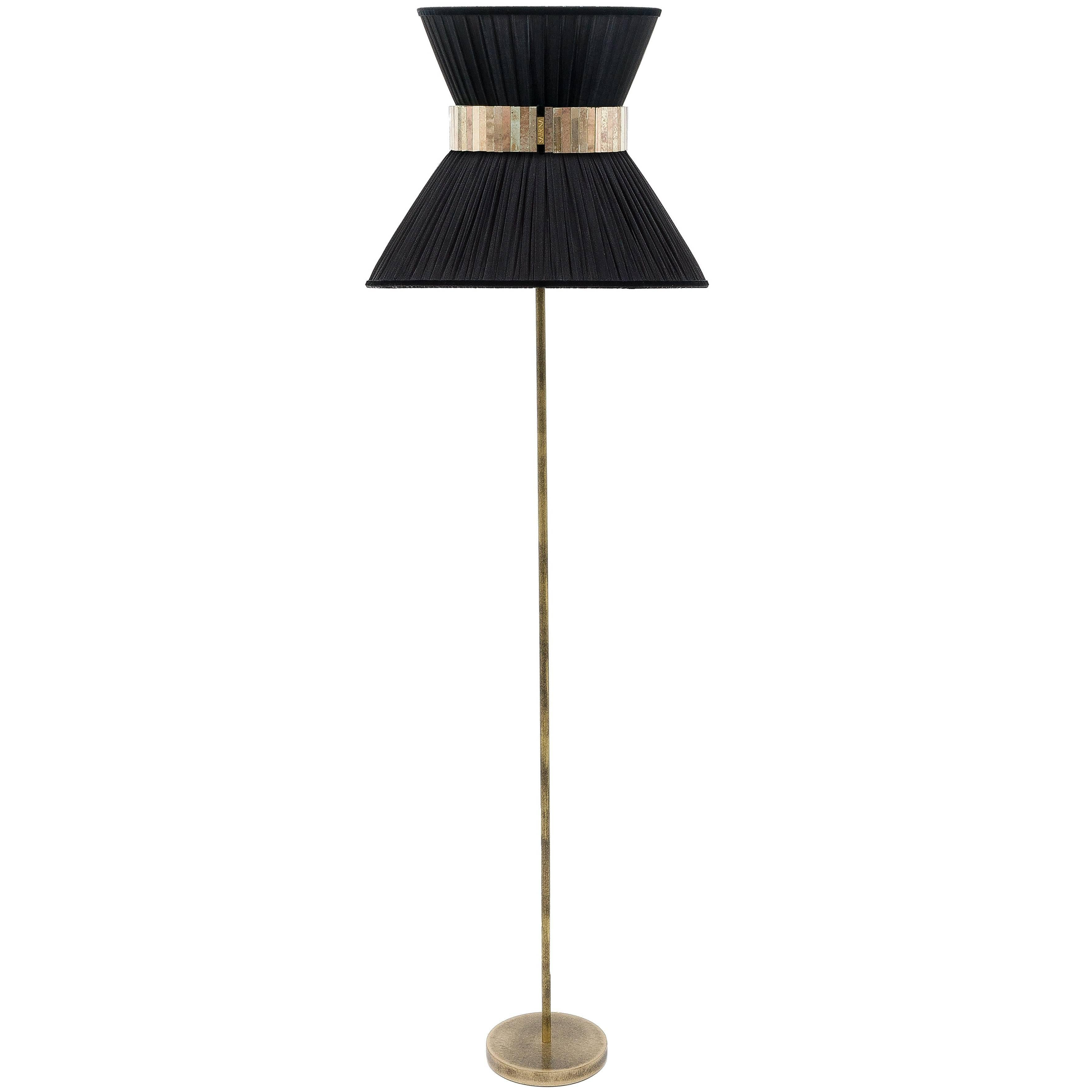 Tiffany contemporary Floor Lamp 30 black Silk,Antiqued Brass,Silvered Glass