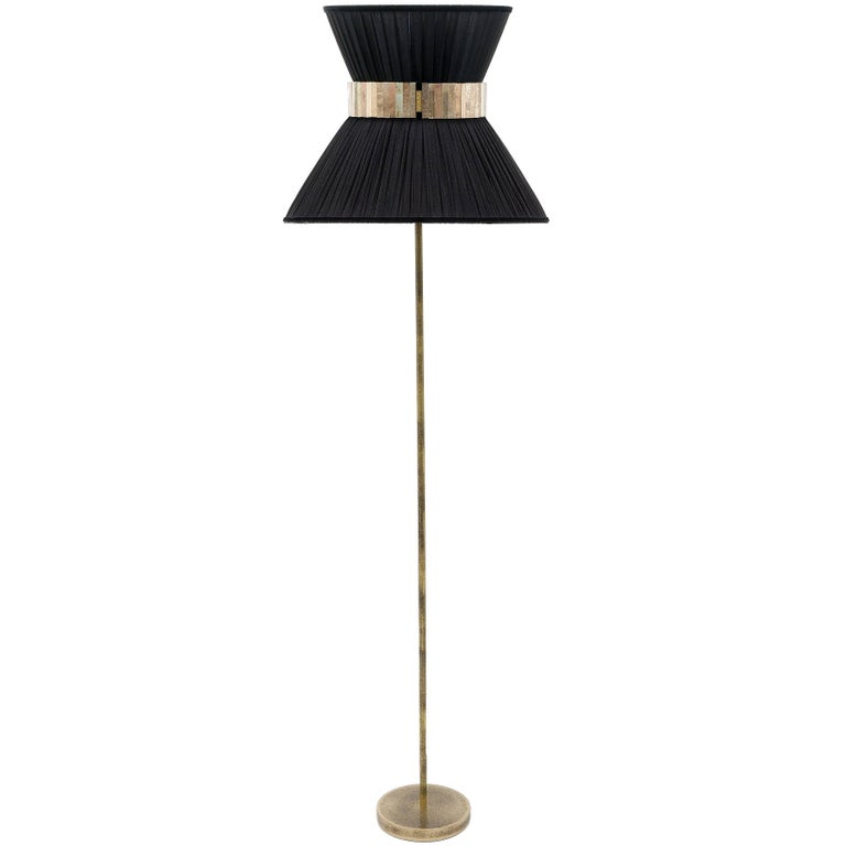 Tiffany Floor Lamp black Silk, Antiqued Brass, Silvered Glass Handmade    For Sale