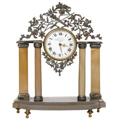 Early 20th Century Silver and Precious Stone Table Clock