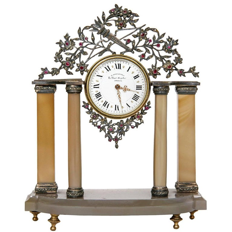 Early 20th Century Silver and Precious Stone Table Clock For Sale