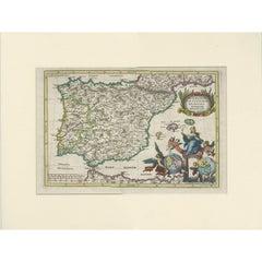 Antique Map of the Iberian Peninsula 'Portugal/Spain' by J.B. Homann, circa 1700