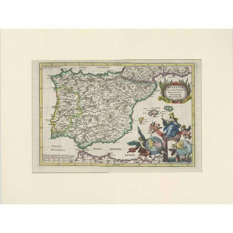 Antique Map Of The Iberian Peninsula Portugal Spain By J B Homann