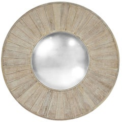 Large Round Acacia Wood Mirror