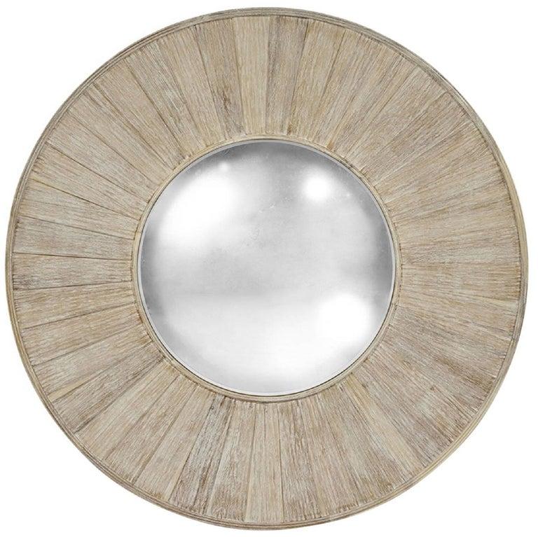 Large Round Acacia Wood Mirror