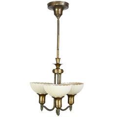 Art Deco Three-Light Pendant with Custard Shades