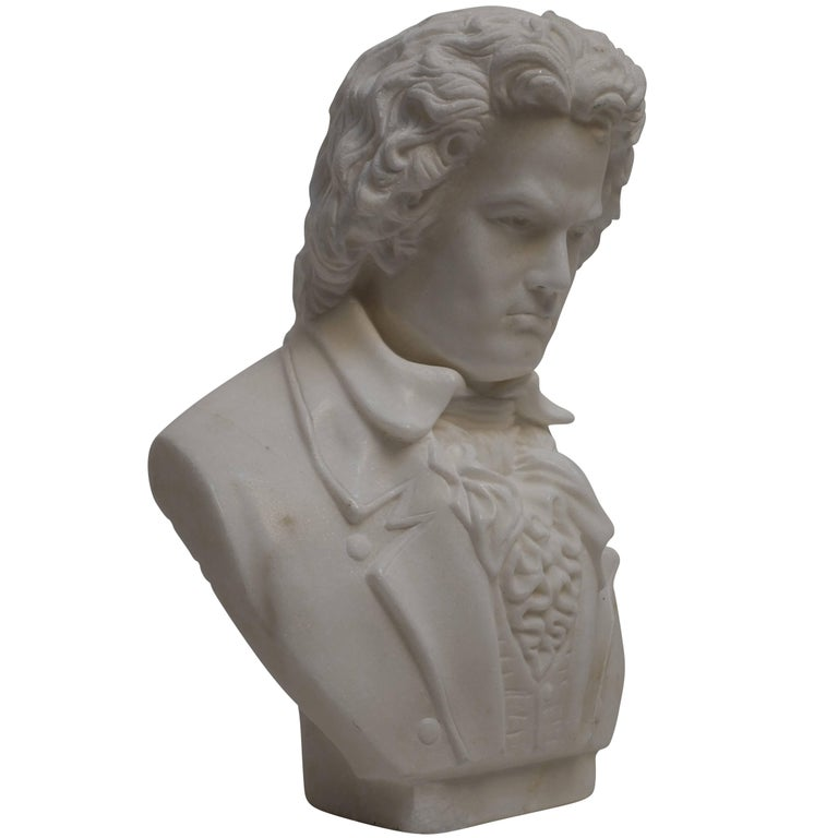 Carrera Marble Bust of Beethoven, 19th Century For Sale