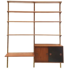 Teak and Brass Wall Unit Shelving by Finn Juhl, Bovirke, Denmark, 1950s
