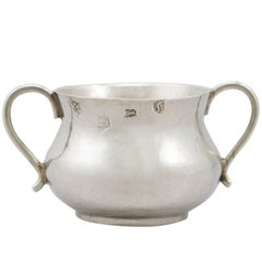 Antique Charles II 1663 Sterling Silver Baby Porringer