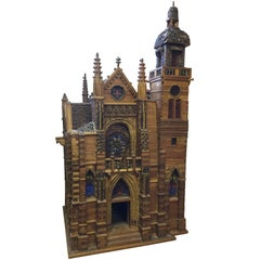 Charming French Folk Art Miniature Cathedral Sculpture Model