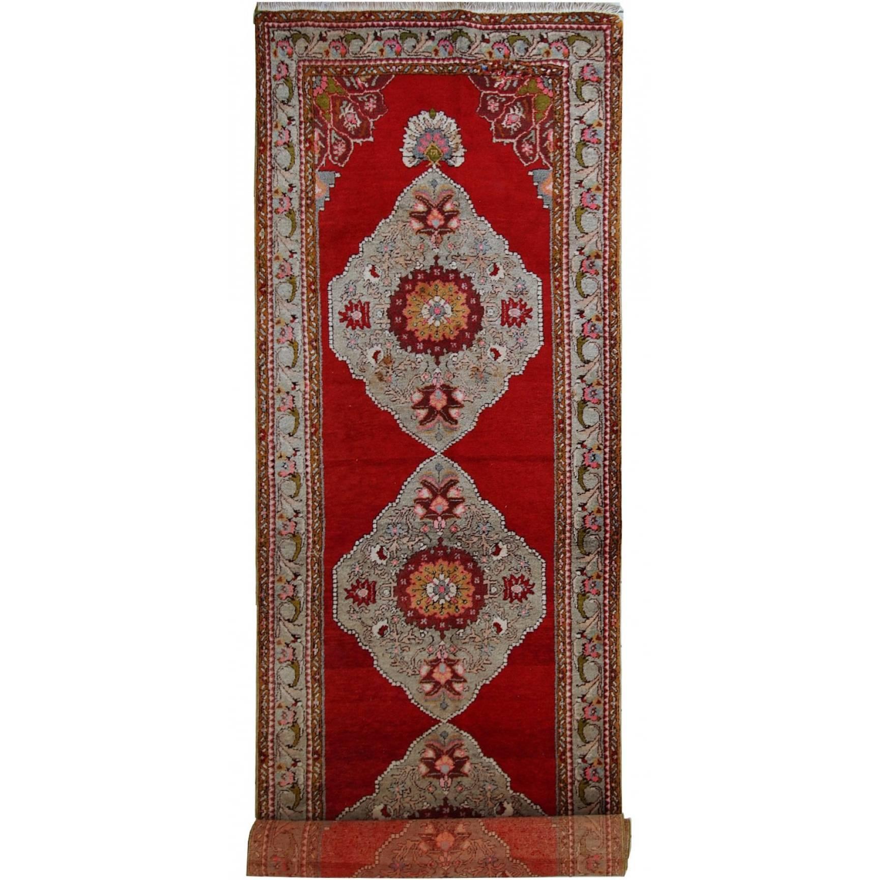 Handmade Vintage Turkish Oushak Runner, 1940s, 1C515