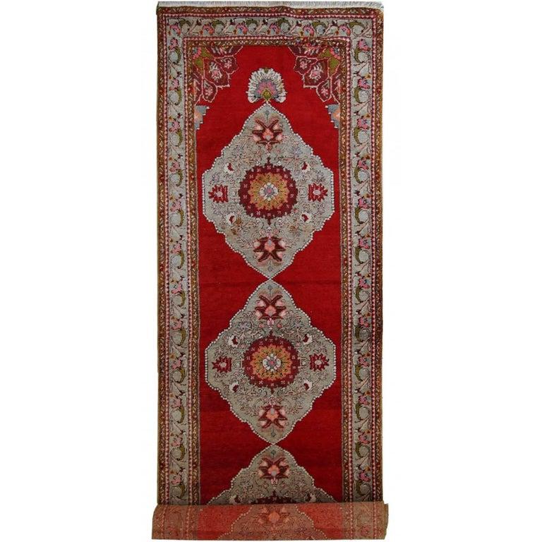 Handmade Vintage Turkish Oushak Runner, 1940s, 1C515 For Sale