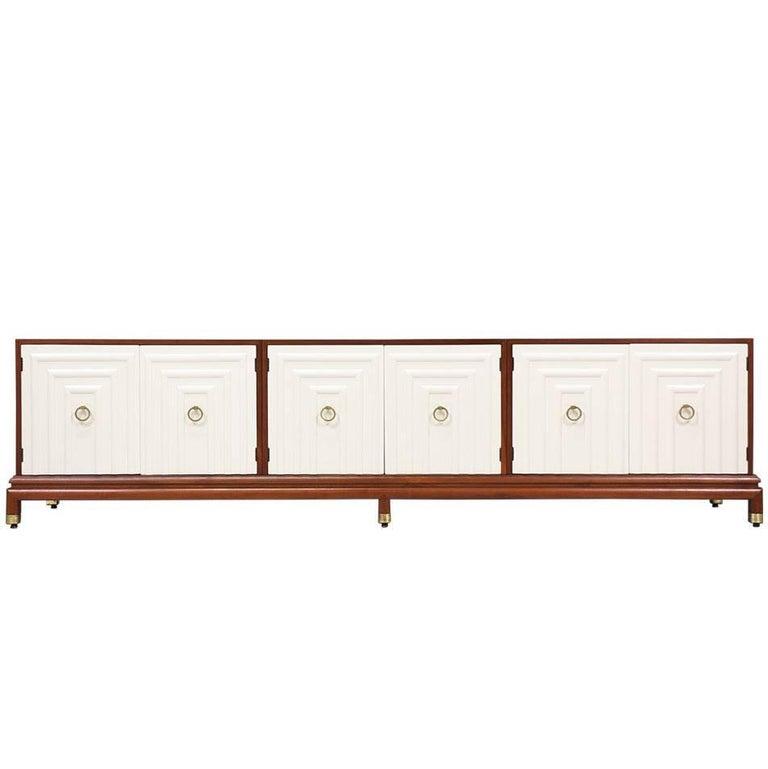 Renzo Rutili Two-Tone Lacquered & Walnut Credenza for Johnson Furniture