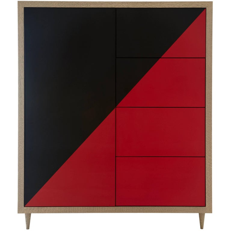 Duplex Dresser in Black & Red lacquer  For Sale