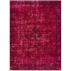 Vintage Pink Distressed Overdyed Rug