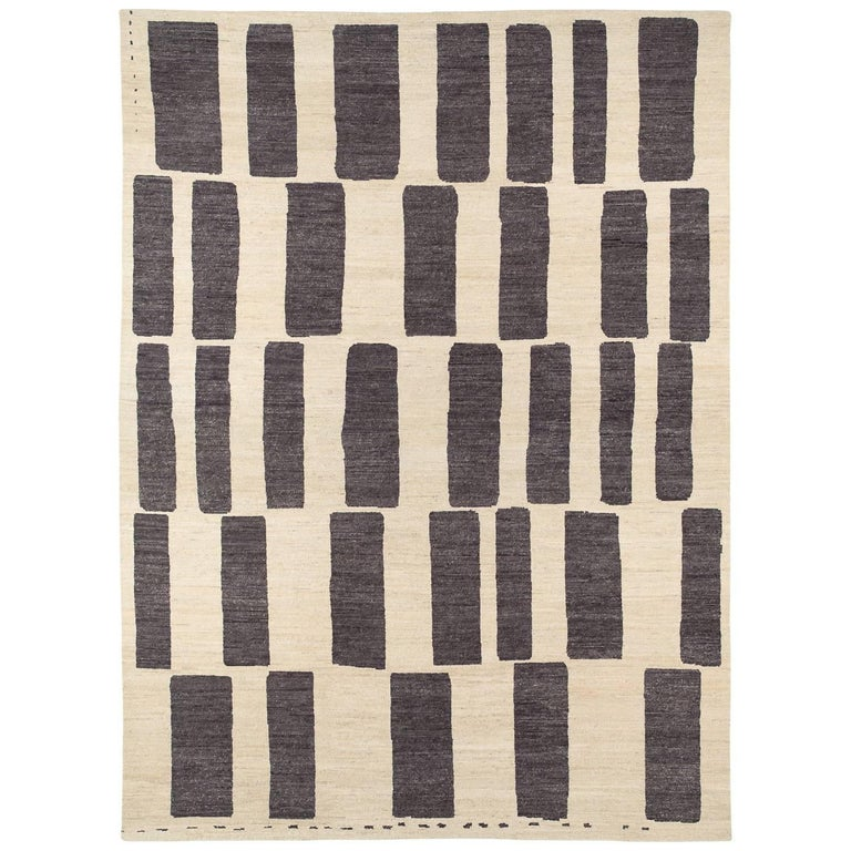 Graphic Grey And White Wool Area Rug 10x14 For Sale At 1stdibs