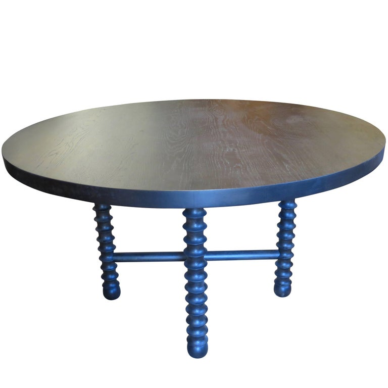 Haskell Studio Ojai Table in Black Oak Round Dining or Center Table