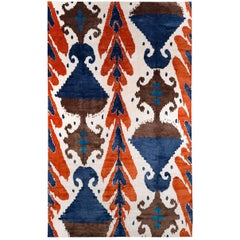 Orange and Blue Silk Ikat Area Rug
