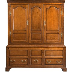 Mid-18th Century Oak Cupboard with Fielded Panels to the Doors