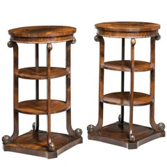 Pair of Regency Period Mahogany Etageres of Finely Figured Timbers