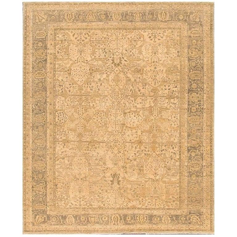 Vintage Beige Tabriz Style Mahabad Parchment Rug For Sale