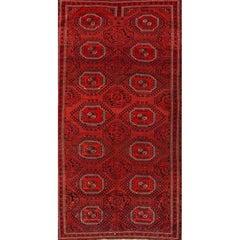 Vintage Red Geometric Turkemen Carpet