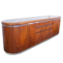Vintage Midcentury Burl Chrome Credenza Eppinger Furniture