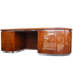 Vintage Burled Wood and Chrome Desk by Eppinger Furniture
