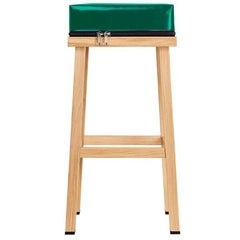 Visser and Meijwaard Truecolors High Stool in Green PVC Cloth with Zipper
