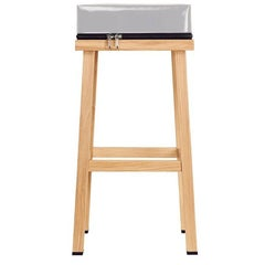 Visser and Meijwaard Truecolors High Stool in Grey PVC Cloth with Zipper